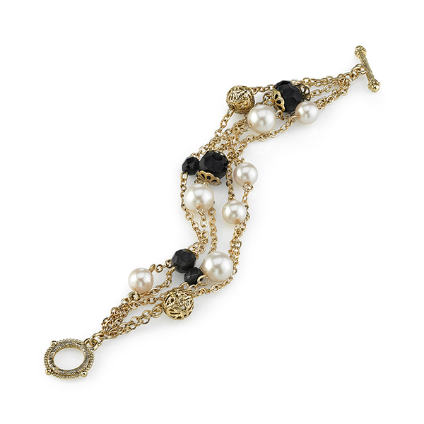 Gold-Tone Faux Pearl and Black Bead Chain Toggle Bracelet