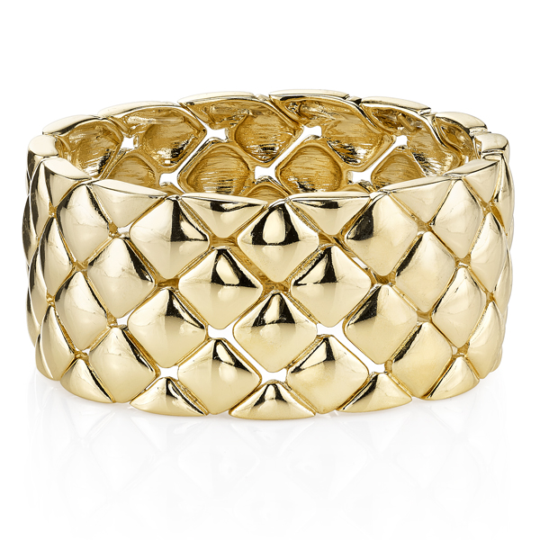 2028 Spring Tailored Gold-Tone Quilted Stretch Bracelet