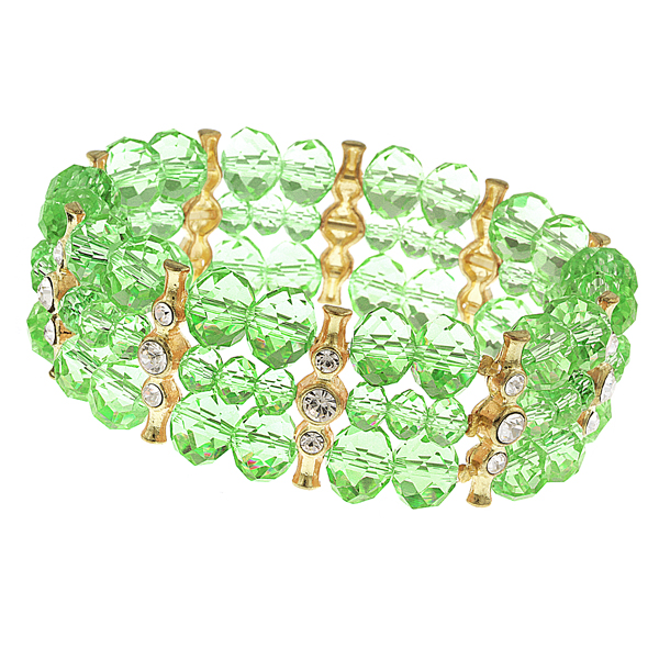 2028 Luxe Pastels Three-Row Green Beaded Stretch Bracelet