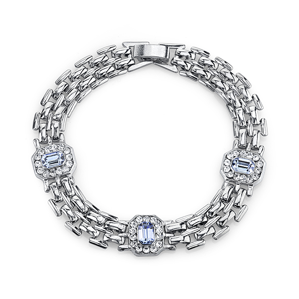 2028 Luxe Pastels Silver-Tone Light Blue and Crystal Clasp Bracelet
