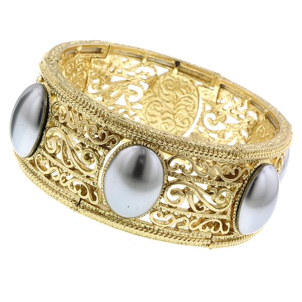 2028 Diana Grey Faux Pearl Gold-Tone Filigree Stretch Bracelet