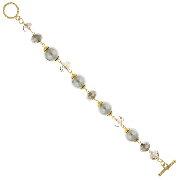 2028 Diana Gold-Tone Grey Faux Pearl and Grey Bead Toggle Bracelet