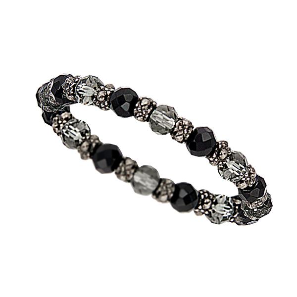 SuperStretch Hematite Tone Beaded Bracelet
