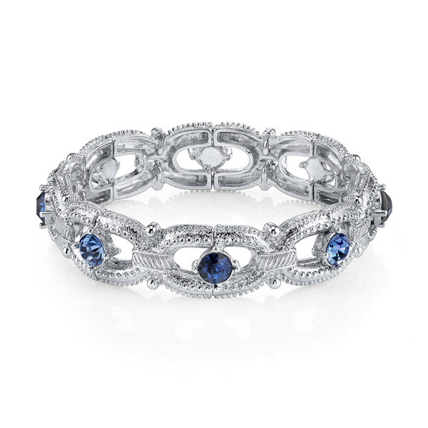 Silver-Tone Blue Crystal Link Stretch Bracelet