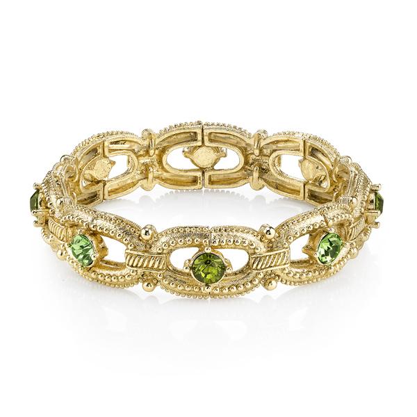 Gold-Tone Green Crystal Link Stretch Bracelet