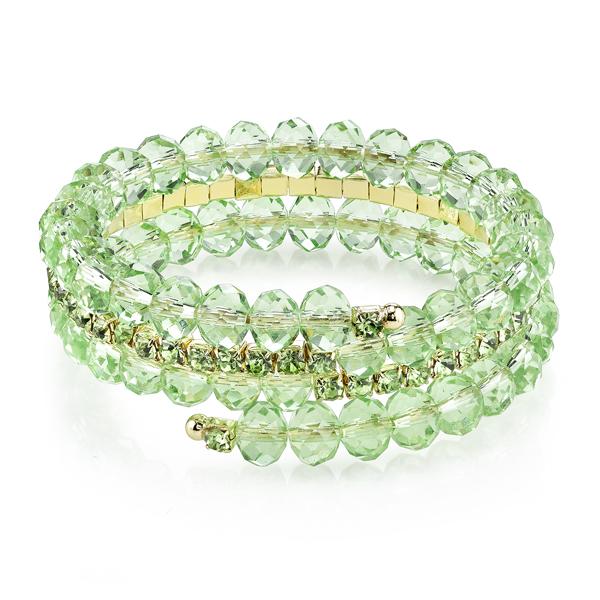 Gold-Tone Green Beaded Coil Bracelet