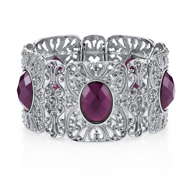 Suriname Silver-Tone Purple Filigree Stretch Bracelet
