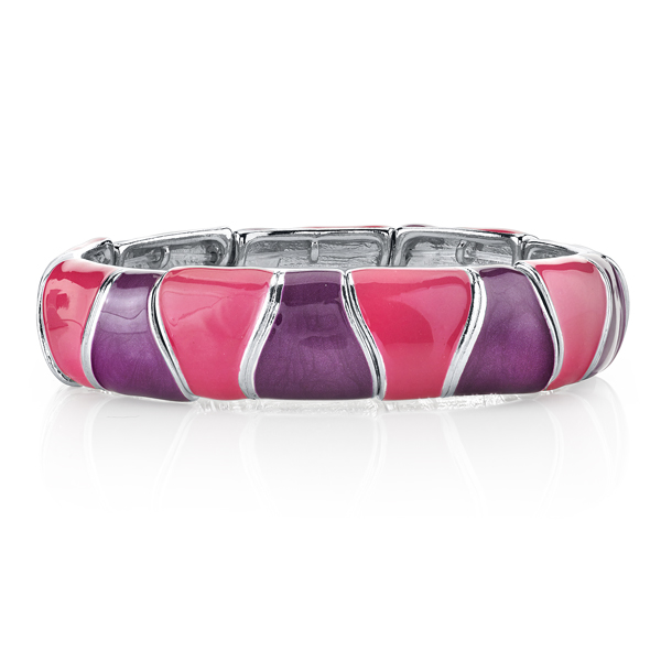 2028 Silver-Tone Pink and Purple Enamel Bracelet