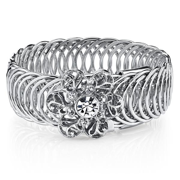 2028 Silver-Tone Crystal Flower Overlay Belt Bracelet