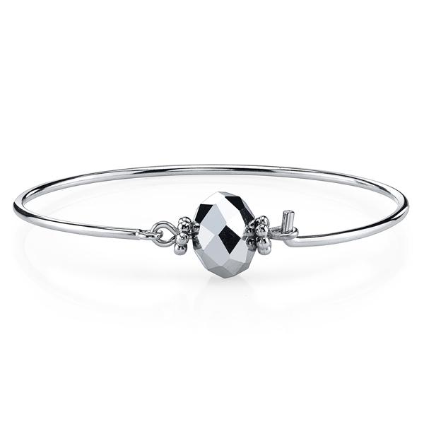 2028 Silver-Tone Bead Wire Bangle Bracelet