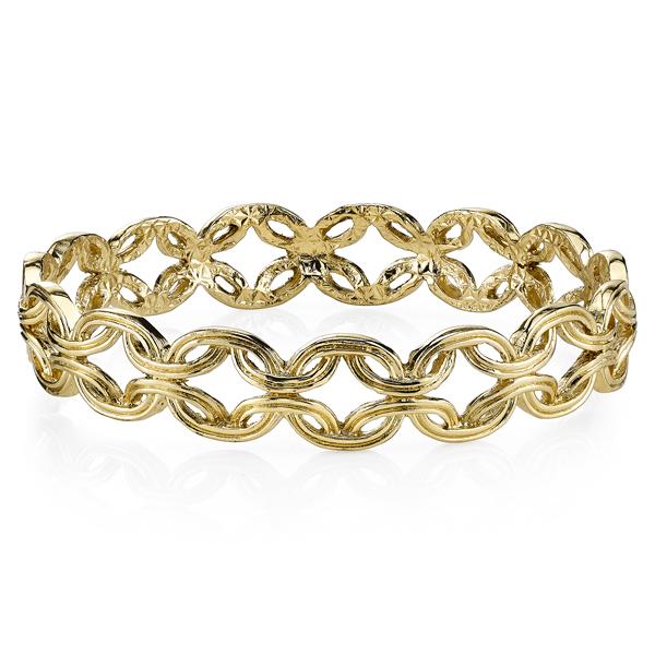 2028 Spring Tailored Gold-Tone Link Bangle Bracelet
