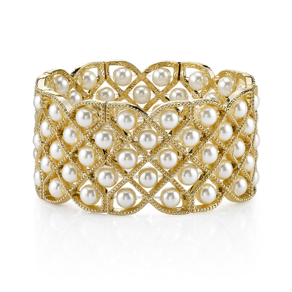 2028 Gold-Tone Faux Pearl Lattice Bracelet