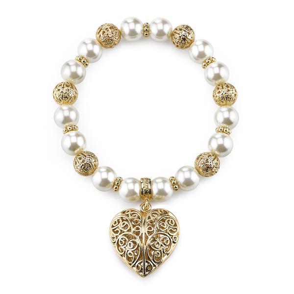 2028 Gold-Tone Faux Pearl Filigree Heart Charm Bracelet