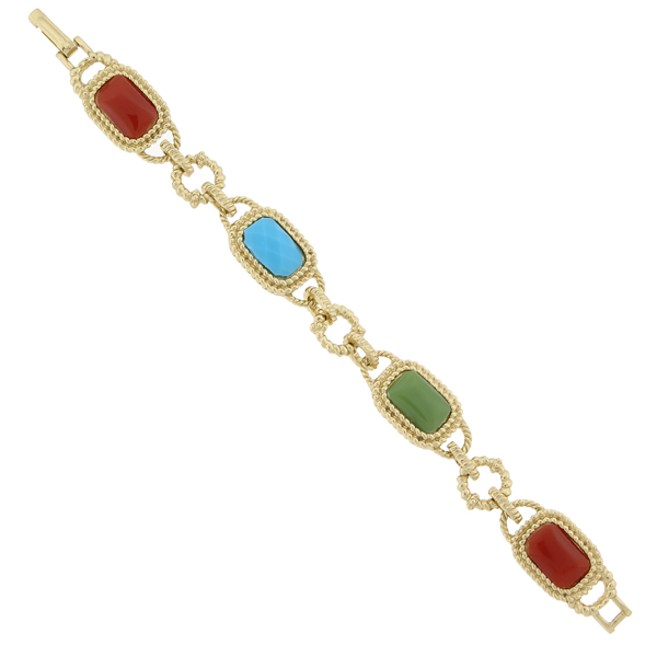 2028 Sorrento Gold-Tone Multi-Color Link Clasp Bracelet
