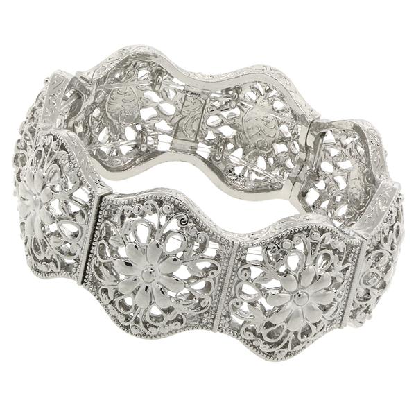 Suriname Silver-Tone Floral Filigree Stretch Bracelet