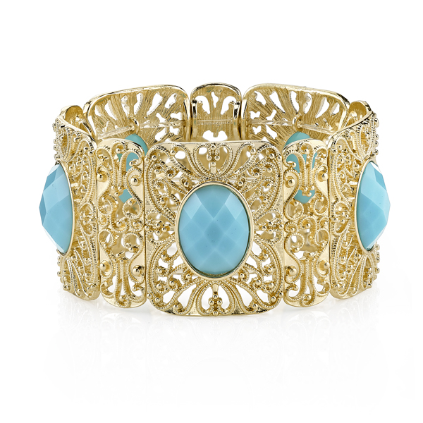 Suriname Gold-Tone Imitation Turquoise Filigree Stretch Bracelet