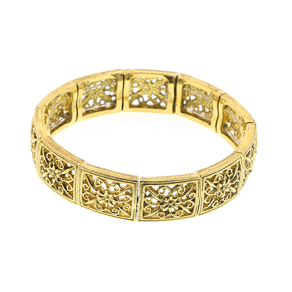 Alex Nicole® Vintage Collectible Brass Filigree Stretch Bracelet
