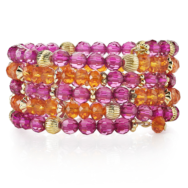 2028 Sunset Gold-Tone Fuchsia and Coral Bead Coil Bracelet