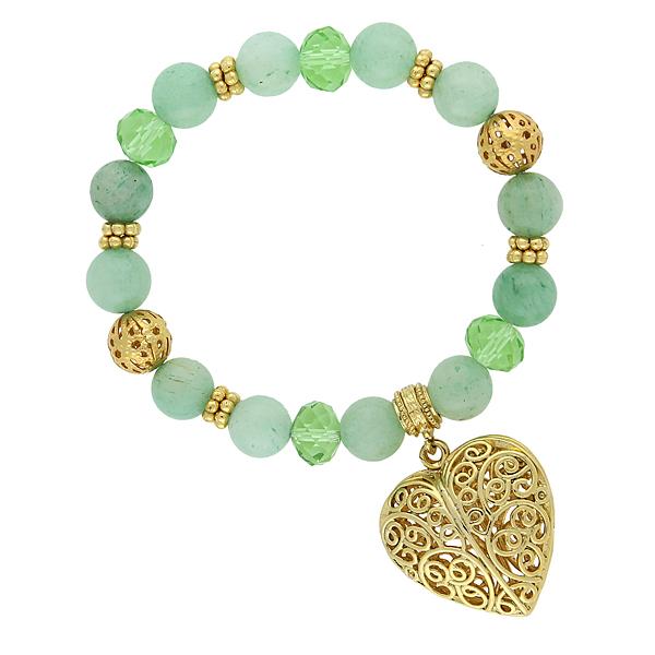 2028 Gold-Tone Semi-Precious Green Aventurine Filigree Heart Bracelet
