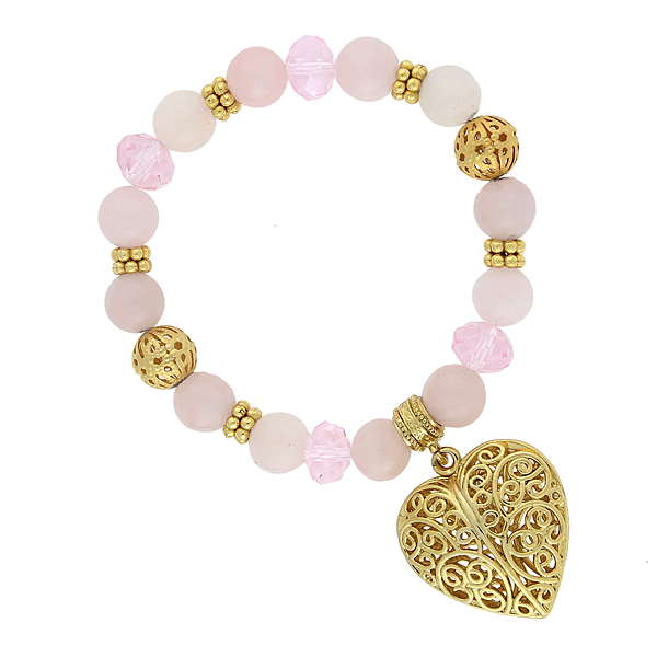 2028 Gold-Tone Semi-Precious Rose Quartz Filigree Heart Bracelet