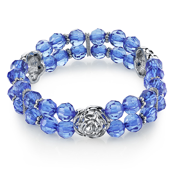 Tuileries Silver-Tone Blue Beaded Stretch Bracelet