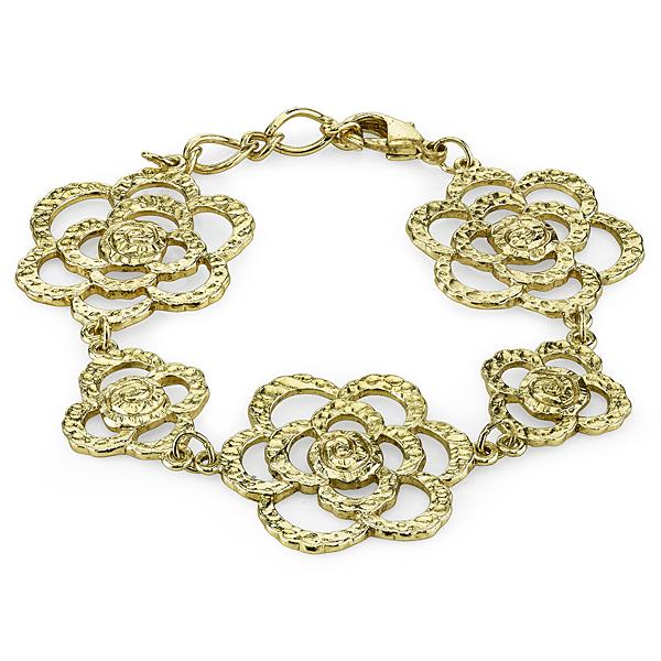 Golden Summer Gold-Tone Hammered Flower Bracelet