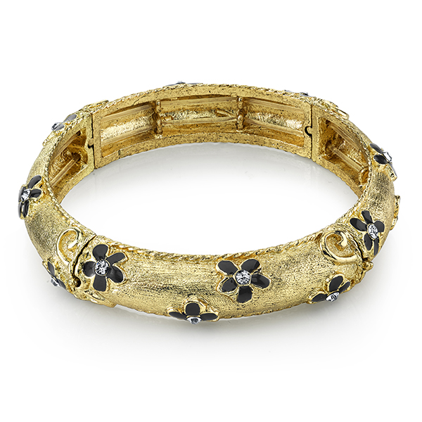 Le Marais Florals Gold-Tone Black Enamel Flower Stretch Bangle