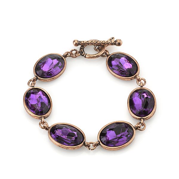 2028 Radiant Violet Copper-Tone Purple Oval Toggle Bracelet