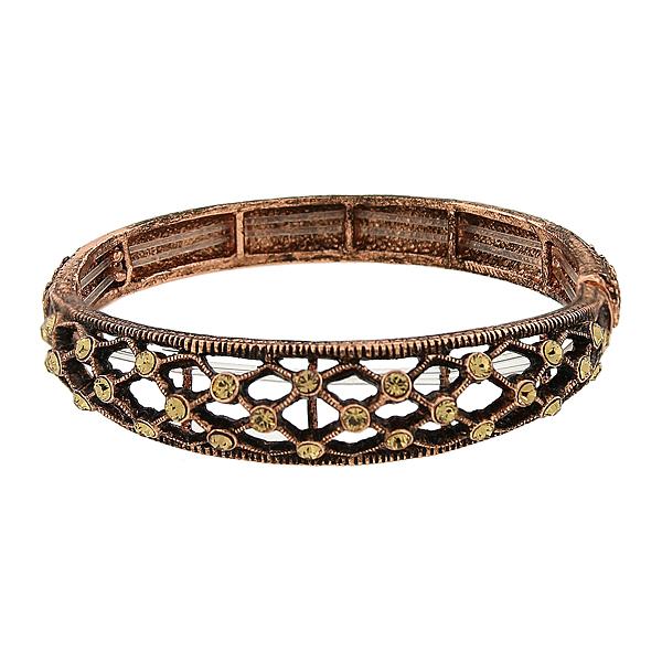 2028 Filigree Sparkle Copper-Tone Topaz Crystal Filigree Stretch Bangle Bracelet