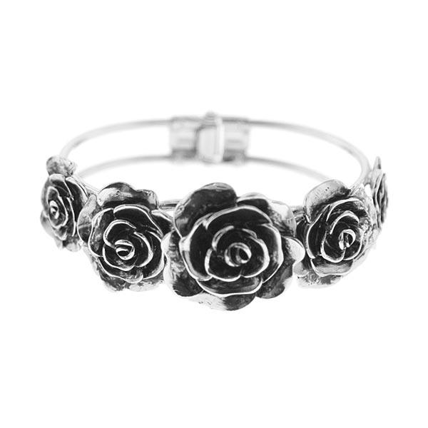 2028 Vintage Metallic Rose Cuff Bracelet