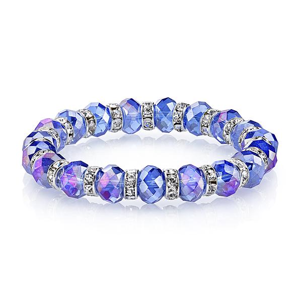 Silver-Tone Sapphire Blue Lux-Cut Bead Stretch Bracelet