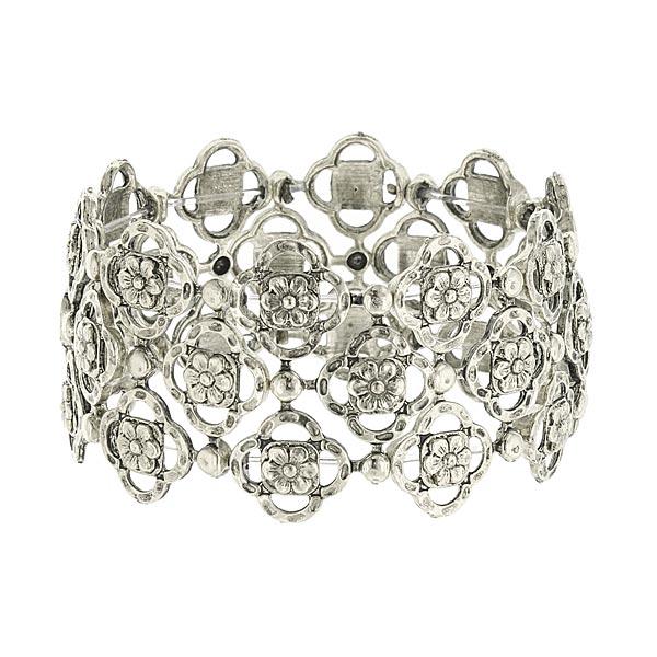 Felice in Silver-Tone Vintage Stretch Bracelet