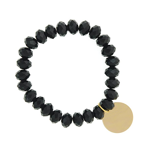 Jet Black Shimmer Beaded Engravable Charm Bracelet