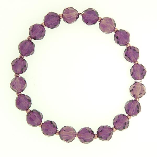 Light Burgundy Lux-Cut Bead Stretch Bracelet