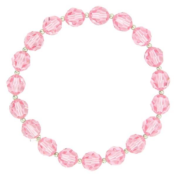 Silver-Tone Rose Pink Lux-Cut Bead Stretch Bracelet
