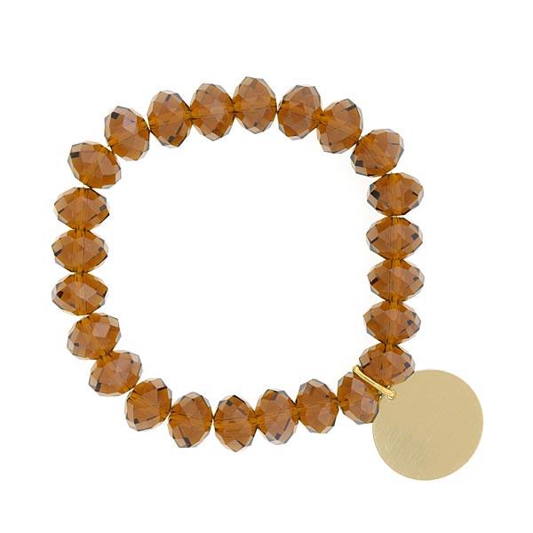 Brown Amber Shimmer Beaded Engravable Charm Bracelet