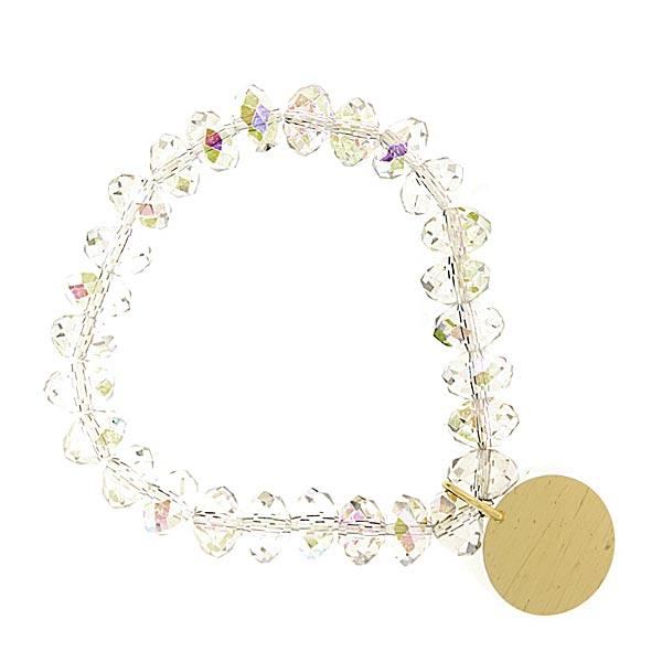 Aurora Borealis Shimmer Beaded Engravable Charm Bracelet