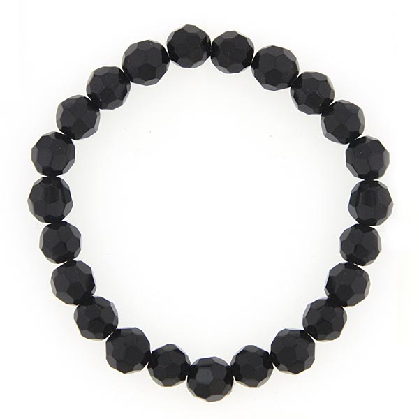 Black Lux-Cut Beaded Stretch Bracelet