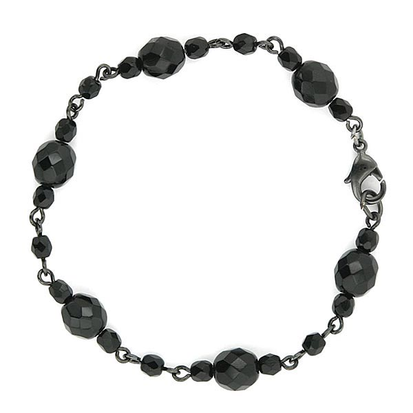 Jet Black Beaded Clasp Bracelet