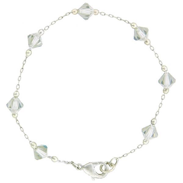 Crystal Illusions Single Strand Silver Tone Crystal Bracelet
