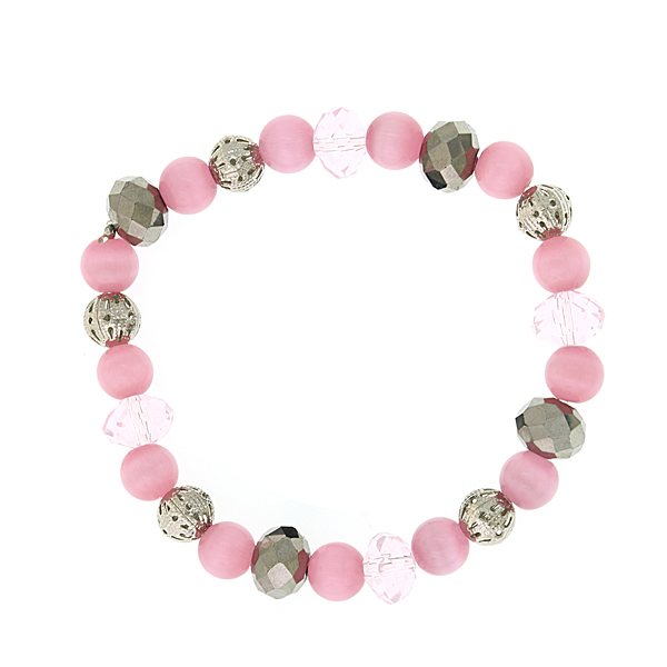 Silver-Tone Light Rose Pink Cat's Eye Beaded Bracelet