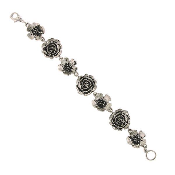 Silver-Tone Flower In-line Clasp Bracelet