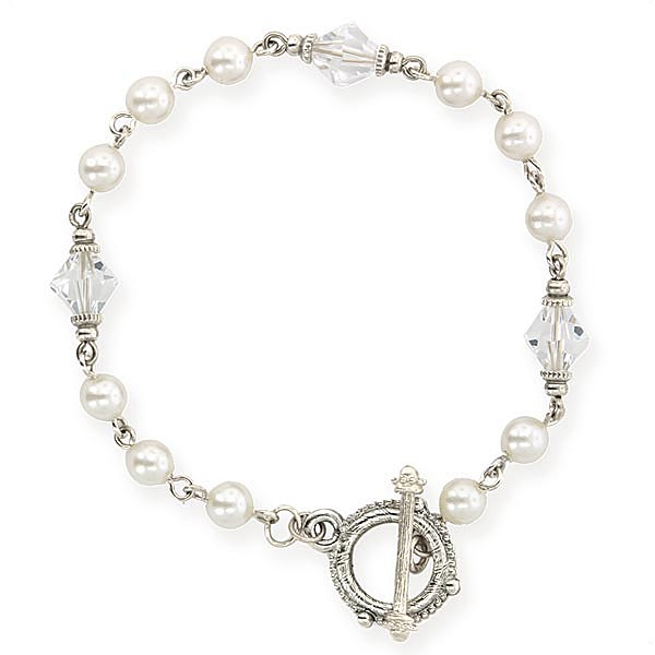 Signature Silver-Tone Crystal and Faux Pearl Toggle Bracelet