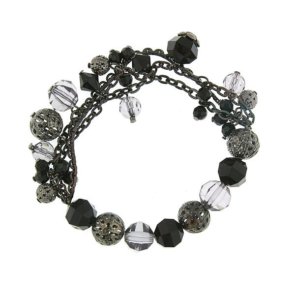 Black Beaded Stretch Charm Bracelet