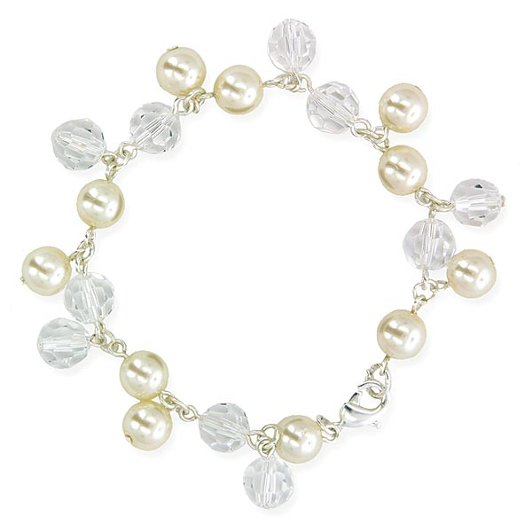 Dangling Beads Silver Tone Simulated Pearl and Crystal Bracelet