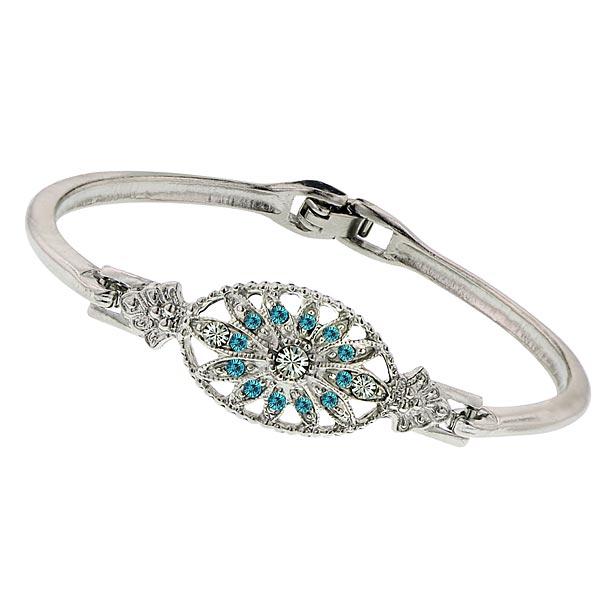 Art Deco Aqua Floral Crystal Bracelet