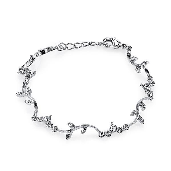 Silver-Tone Floral Garland Crystal Bracelet, 7