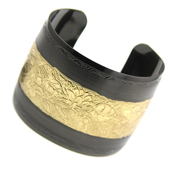 Prominence Black & Gold-Tone Floral Cuff Bracelet