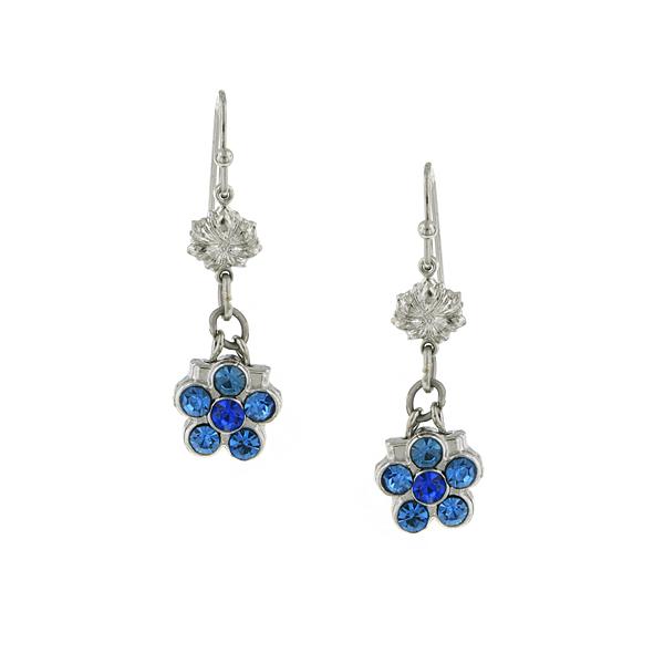 Gold-Tone Blue Crystal Flower Drop Earrings