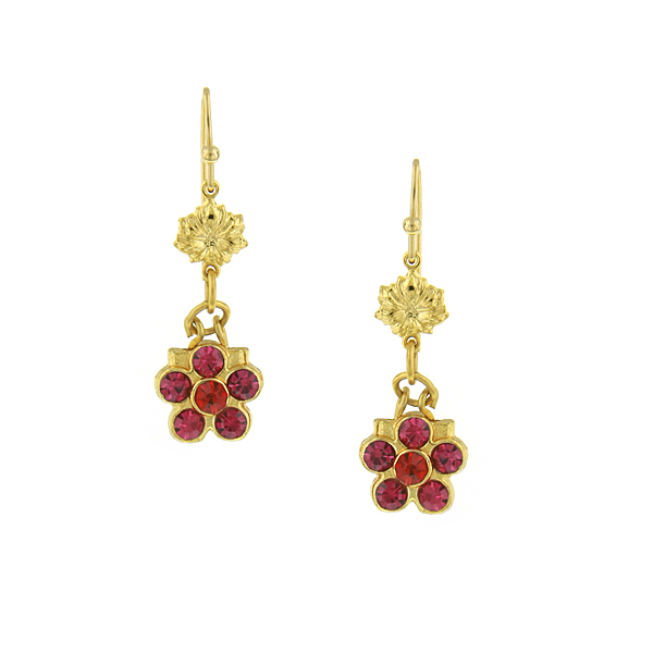 Gold-Tone Pink Flower Drop Earrings